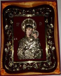 Icoana aurie si argintie Mantuitorul si Maica Domnului KAZANI