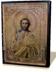 Icoana cu email aurita mare Iisus Hristos si Nicolae