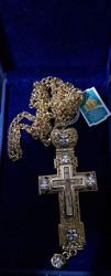Cruce pectorala aurie cu pietre patrate