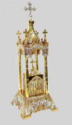 Chivot din alamă pentru Biserica cu aurit și argintat