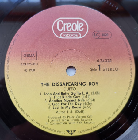 Duffo – албум The Disappearing Boy