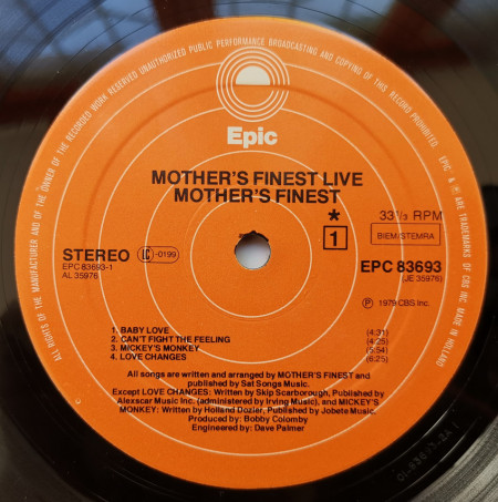 Mother's Finest ‎– албум Mother's Finest Live
