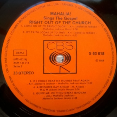 Mahalia – албум Sings The Gospel Right Out Of The Church