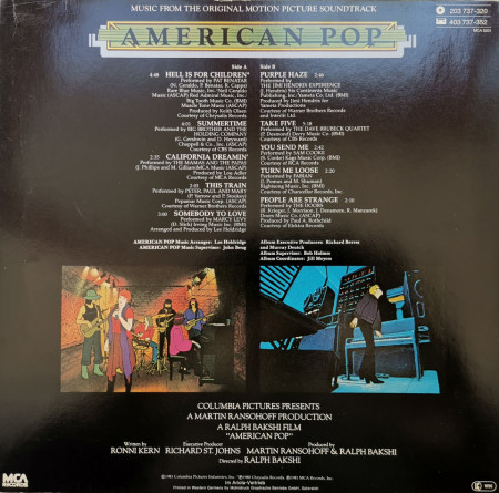 Various ‎– албум Music From The Original Motion Picture Soundtrack American Pop