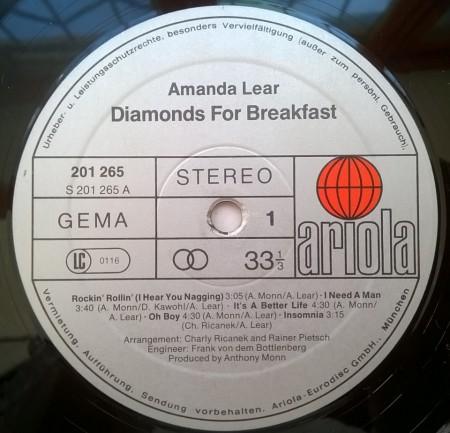Amanda Lear – албум Diamonds For Breakfast