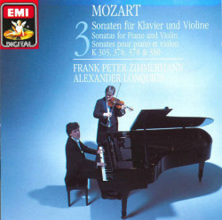 MOZART, Frank Peter Zimmermann, Alexander Lonquich – 3. Sonaten Für Klavier Und Violine KV 305, 376, 378 & 380. (CD)