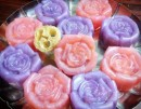 Loofah soap roses in Glycerin soap
