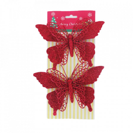 Decoratiune brad fluturas, glitter rosu, dimensiune 18*21cm