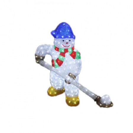 Decoratiune de exterior cu lumini, Om de zapada cu lopata din acril, 224 Led-uri, dimensiune produs 80cm, 8 jocuri de lumini, cablu de alimentare 3m