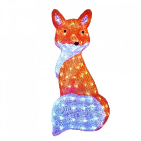 Decoratiune de exterior cu lumini, Vulpea cea Sireata din acril, 144 Led-uri, dimensiune produs 60cm, 8 jocuri de lumini, cablu de alimentare 3m