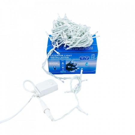 Instalatie Lumini de exterior, fir 100 Led- Lumina alb / albastru 10m, cu mufa de imbinare, SW-100W-WB
