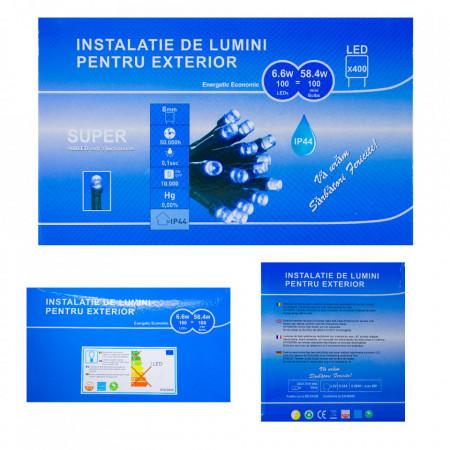 Perdea Lumini de exterior, 3m x 1.5m, 400 Led Lumina Alb-Rosu interconectabila, culoare verde inchis, SW-400G-WR