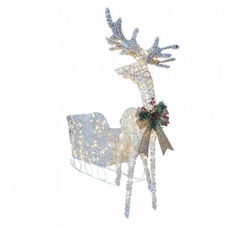 Decoratiune de Craciun Sanie alba din ratan cu spray de zapada , Ren alb cu fir de ratan cu spray de zapada