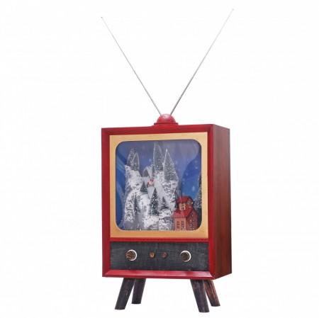 Felinar Muzical cu led si zapada artificiala in forma de Televizor
