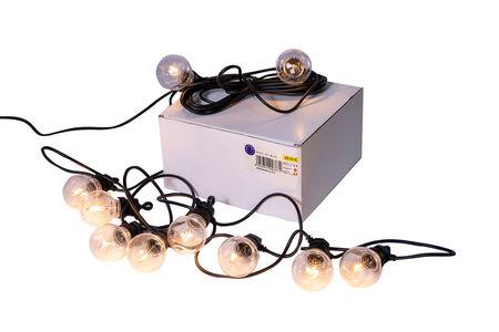 Ghirlanda Luminoasa 3m cu 10 Becuri A60 cu Led, cablu cu pendul Negru, Lumina Calda, de Exterior