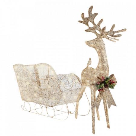 Decoratiune de Craciun Sanie din plasa chamapagne cu decor de margele, Ren din plasa chamapagne cu decor de margele