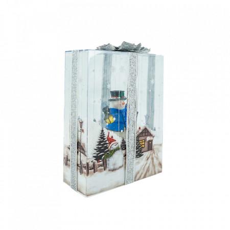 Felinar Muzical cu zapada articiala, Cutie de cadou transparenta cu Om de Zapada, WB-20-W , 48cm