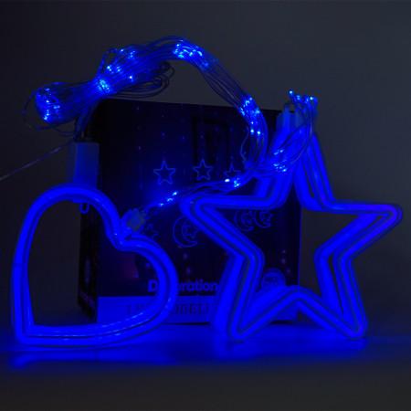 Instalatie in forma de Inimioare cu Stelute , BL-382-B, Lumina Albastru