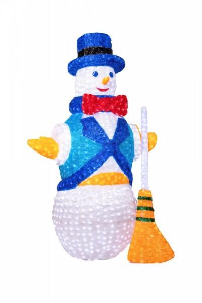 Decoratiune luminoasa pentru exterior, Om de zapada, h 200cm