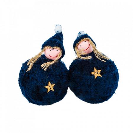 Set 4 globuri in forma de figurine, imbracate in plusate cocolino, culoare albastru denim, diametru 10cm