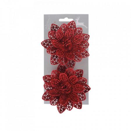 Craciunite pentru brad, set 2 buc, glitter rosu, dimensiune 10cm