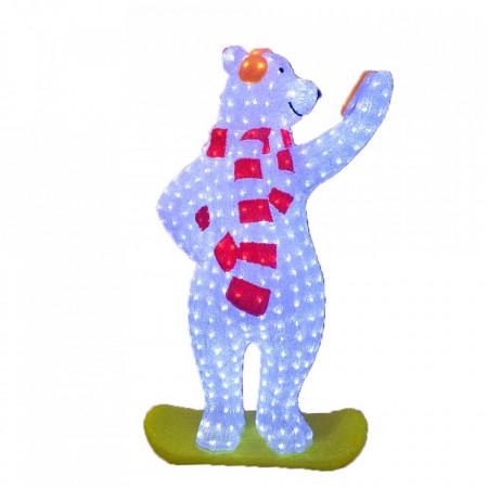 Decoratiune de esterior cu lumini, Urs Polar Selfie din acril, 228 Led-uri, dimensiune produs 120cm, 8 jocuri de lumini, cablu de alimentare 3m