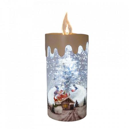 Felinar Muzical cu zapada articiala, Lumanare cu Peisaj de iarna,WB-24-S, 50cm