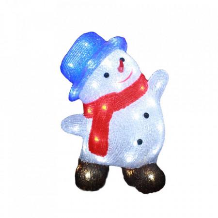 Decoratiune de exterior cu lumini, Om de zapada dansator din acril, 50 Led-uri, dimensiune produs 40cm, 8 jocuri de lumini, cablu de alimentare 3m