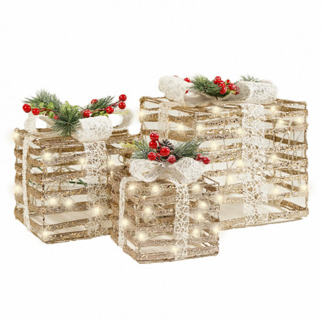 Set 3 cutii cadou din plastic si ratan ,champage cu lumini 80 led-uri albe calde + transformator