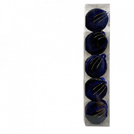 Set 5 globuri din polistiren imbracate in catifea, culoare albastru inchis cu diametru de 10cm