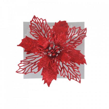 Craciunita pentru brad, glitter rosu, dimensiune 17cm