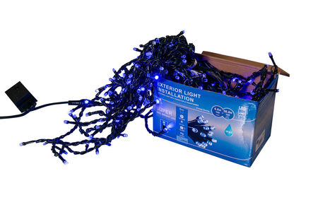 Perdea franjuri lumini de exterior 360 Led-uri, Albastra, 5m L, Interconectabila cu joc de lumini