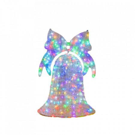 Decoratiune de Craciun pentru exterior Clopot 3D, cu jocuri de lumini RGB, telecomanda + transformator, inaltime 100cm, diametru 75cm