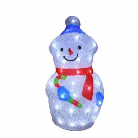 Decoratiune de exterior cu lumini, Om de zapada din acril, 50 Led-uri, dimensiune produs 45cm, 8 jocuri de lumini, cablu de alimentare 3m