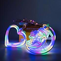 Instalatie in forma de Luna cu Stelute si inimioare , BL-385-M, Lumina Multicolora