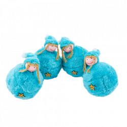 Set 4 globuri in forma de figurine, imbracate in plusate cocolino, culoare verde, diametru 10cm