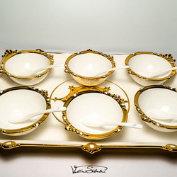 Set Cupe pentru Inghetata 13 piese din ceramica fina VS62 VITTORIO SABATINI