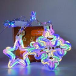 Instalatie in forma de Romburi cu Stele , BL-378-W, Lumina Multicolora