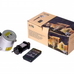 Proiector laser exterior IP44, cu telecomanda, joc de lumini roz si albastru