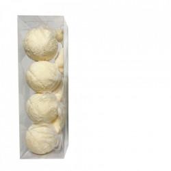 Set 4 globuri in forma de figurine, imbracate in plus cocolino, culoare crem, diametru 10cm