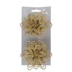 Craciunite pentru decorarea bradului, set 2 buc, glitter auriu, dimensiune 10cm