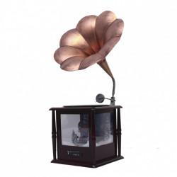Felinar Muzical cu led si zapada artificiala in forma de Magnetofon, telecomanda si usb, dimensiune produs 37*21*59cm, alimentare priza , BL1200