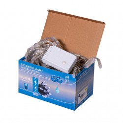 Perdea  Lumini de exterior, 216 Led- Albastru 2.5m x 1.5m, caseta joc de lumini, interconectabila