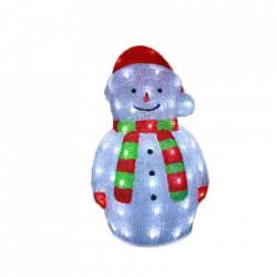 Decoratiune de exterior cu lumini, Om de zapada cu fular din acril, 72 Led-uri, dimensiune produs 60cm, 8 jocuri de lumini, cablu de alimentare 3m