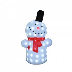 Decoratiune de exterior cu lumini, Om de zapada din acril, 72 Led-uri, dimensiune produs 60cm, 8 jocuri de lumini, cablu de alimentare 3m