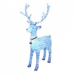 Decoratiune de exterior cu lumini Ren din acril cu instalatie de lumini , dimensiune 130cm, 8 jocuri de lumini, cablu de alimentare 3m, culoare alb