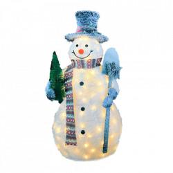 Om de zapada cu beteala alba cu spray de zapada, cu lumini 80 led-uri albe calde + transformator, 120cm, BL-2122