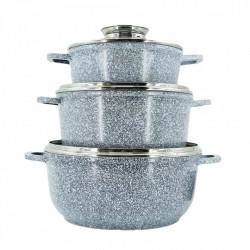 Set 3 cratite din Granit cu protectie maner sin silicon si capac de sticla tremorezistent EB8020