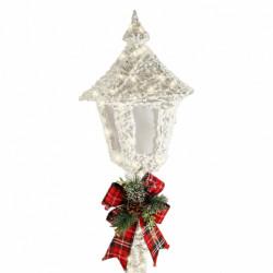 Lampadar cu fir de bumbac alb cu spray de zapada, cu lumini 80 led-uri de culoare alba calda + transformator