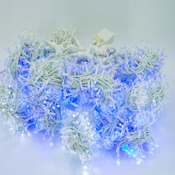 Perdea Lumini de exterior, 3m x 10m, 3200 Led Lumina Alb-Albastru interconectabila, 3200W-WB